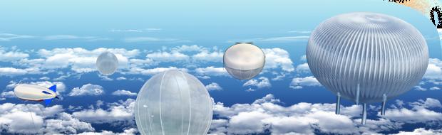 Vue d'artiste de la gamme des ballons du CNES ©CNES